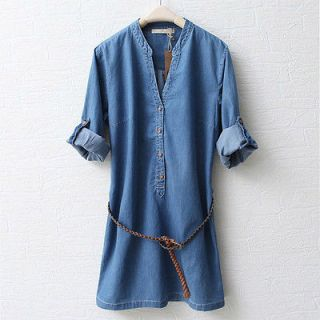 NEW WOMENS Medium style thin denim dress with Belt SHIRT DRESS Ogj