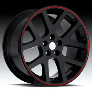 22 Black Viper W Red wheels&tires Fit 300 SRT8 Dodge Charger Magnum