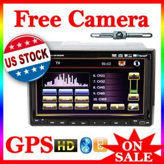 HD Double Din Car DVD  Player GPS Navigation Radio iPod+Free