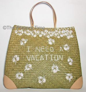 New KATE SPADE NY Bag GEMINA Straw & Leather LG Tote I NEED A VACATION