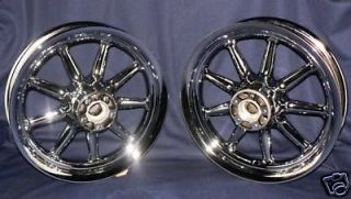 Chrome 9 Spoke Touring Wheels Road King Street Electra Glide FLH Ultra
