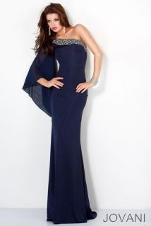 Jovani 4660 Navy One Shoulder Evening Dress Gown Sz 0 4 6 8 10 14 New