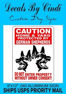 GERMAN SHEPHERD GUARD DOG ALUMINUM SIGN GSM1