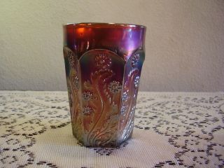 Antique Fenton Carnival Glass Amethyst Paneled Dandelion Tumbler