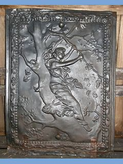 ANTIQUE FIREPLACE COVER TIN ORNATE ART NOUVEAU FRAME EMBOSSED SCREEN