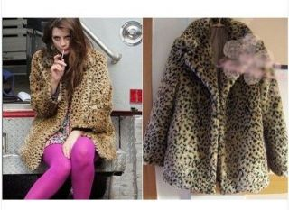 New Fashion Women Warm Leopard Print Faux Fur Jacket Coat size S M L