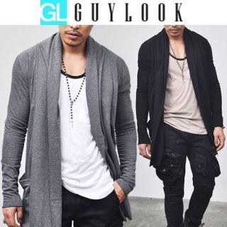 Avant garde Edge Mens Designer Shawl Collar Long Jacket Cardigan S M