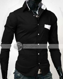 Wholesale YW Long Sleeve Buttoned Folding Collar Men Casual Shirt