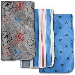 Mickey Mouse Receiving Blankets for Baby   3 Pack