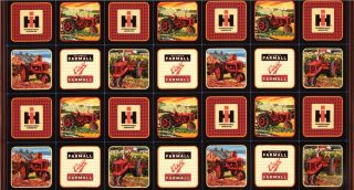 International Harvester Red Tractor Panel Multi   Discount Designer