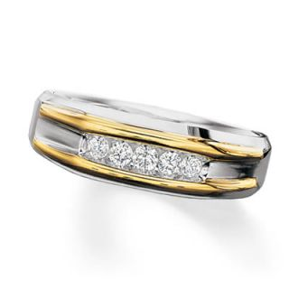 Mens 1/4 CT. T.W. Diamond Artisan Ring in 10K Two Tone Gold   Rings