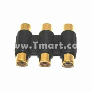 RCA 3 Triple to RGB Coupler Adapter Connector AV Cable   Tmart
