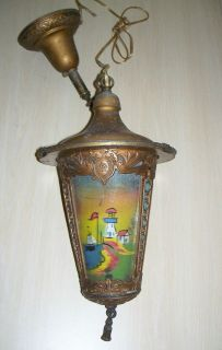 Antique Art Nouveau Reverse Painting Hanging Lamp, Lighthouse Scene