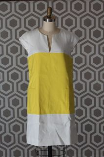 NWT Kate Spade Hana Colorblock Dress Yellow White 8