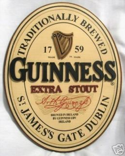 Guinness Label Oval 3D Wood Irish Pub Bar Guiness Sign