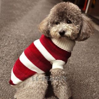 Cute Red White Stripe Pet Dog Clothes Apparel Warm Coat Sweater Puppy