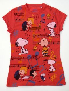 SNOOPY Charlie Brown (Music Notes) Red Womens T.Shirt