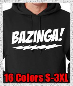 New BAZINGA The Big Bang Theory T Shirt Sheldon Cooper Jerzee Hoodie