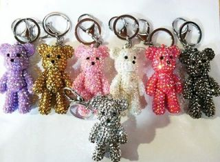 NEW SMALL MINI TEDDY BEAR RHINESTONE FASHION KEYCHAIN CHARM ACCESSORY