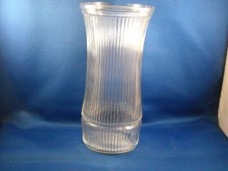 VINTAGE HOOSIER CLEAR RIBBED GLASS VASE # 4088 B