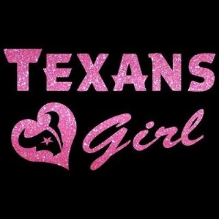 Texans Girl w Heart Metallic Glitter Film Auto Car Truck Window