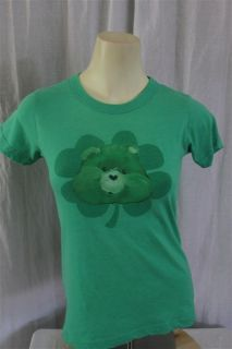 Junk Food Juniors LARGE Care Bears Lucky Bear Lucky You Green SS T