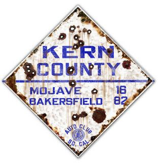KERN COUNTY TIN METAL ROAD SIGN GARAGE ART VTG STYLE HOT ROD RAT
