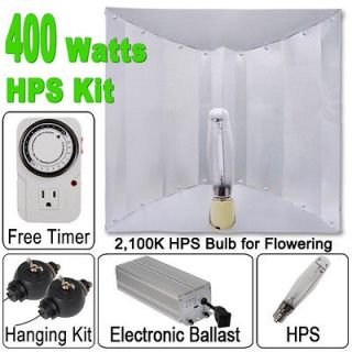 New 400 Watt HPS Grow Light Kit XL Wing Reflector Hood 400w Digital
