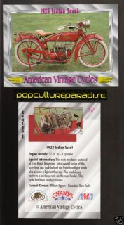 1923 INDIAN SCOUT Bike American Vintage Motorcycle CARD