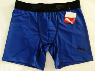 Puma Mens Boxer Brief Black Blue Logo Sports Athletic 3 Inseam
