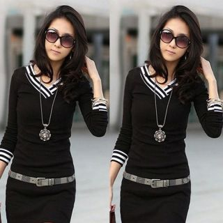 Sizes L 3XL Womens korean elegant V neck long sleeve slim mini dress