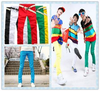 Mens Stretchy Candy Pencil Pants Casual Skinny Jeans Trousers 7 size