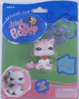 Littlest Pet Shop LPS Pink Persian CAT LED Lights Up GLOWS PINK Clip