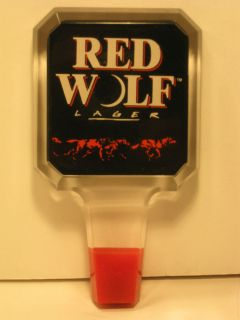 BUDWEISER / RED WOLF BEER SQUARE LOGO ACRLIC / LUCITE TAP HANDLE