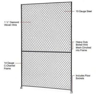 Wire Mesh Partition   Wire Mesh Panel 5 x 8   Includes Floor Sockets