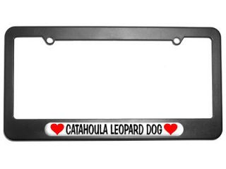 Catahoula Leopard Dog Love with Hearts License Plate Tag Frame