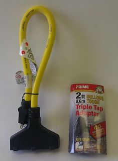 Gauge Yellow Extra Heavy Duty Extension Cord with Black Triple Outlet
