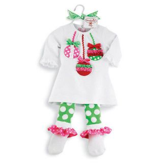 mud pie christmas baby infant girls ornament tunic polka dots leggings