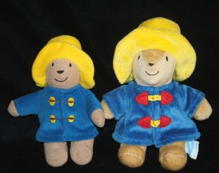 Eden Set of 2 Paddington Bears Plush Baby Toy Rattle Velcro Attach to