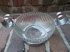 Art Deco Ribbed Glass Serving Bowl With Removable Chrome Holder