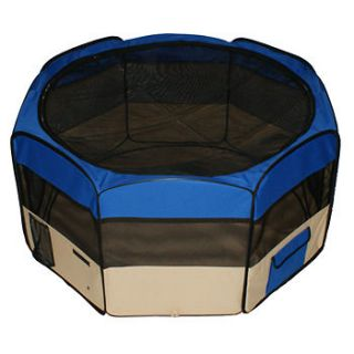 listed Portable 45 PET PUPPY DOG PLAYPEN EXERCISE PEN KENNEL Blue
