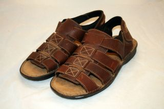 Leather Sandals Mens Size 12 M Omro Brown Memory Fit Velcro Strap