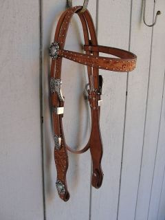 Browband Basket Floral tooled Medium Oil Headstall Reining Show