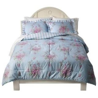 New Simply Shabby Chic Queen Cabbage Rose Comforter w/2 Shams