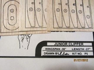 36 Junior Clipper Balsa Model Airplane Kit #P5 Plan and Printwood