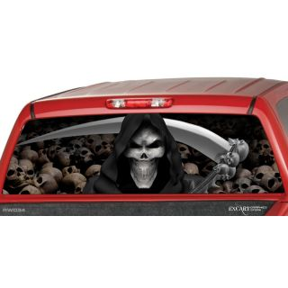 grim reaper skulls rear window graphic tint decal truck time
