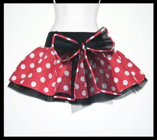 RED WHITE SPOT POLKA DOT MINNIE MOUSE 5 LAYER TUTU SKIRT BLACK NET