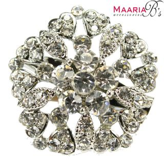 SILVER DIAMANTE RHINESTONE FLOWER BROOCH PIN BRIDAL CAKE DECORATION