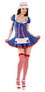 Sexy Womens COSTUME RAG DOLL Medium Raggedy Ann dress polka dot lace