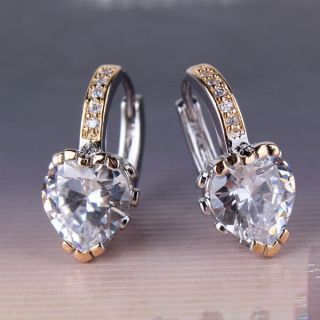 gold filled lady hoop earring shining diamond cut heart shape crystal